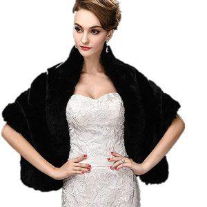 Jackets & Blazers - Women's Faux Fur Wrap Cape Stole Shawl Shrug